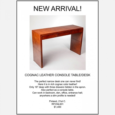 COGNAC LEATHER CONSOLE TABLE/DESK