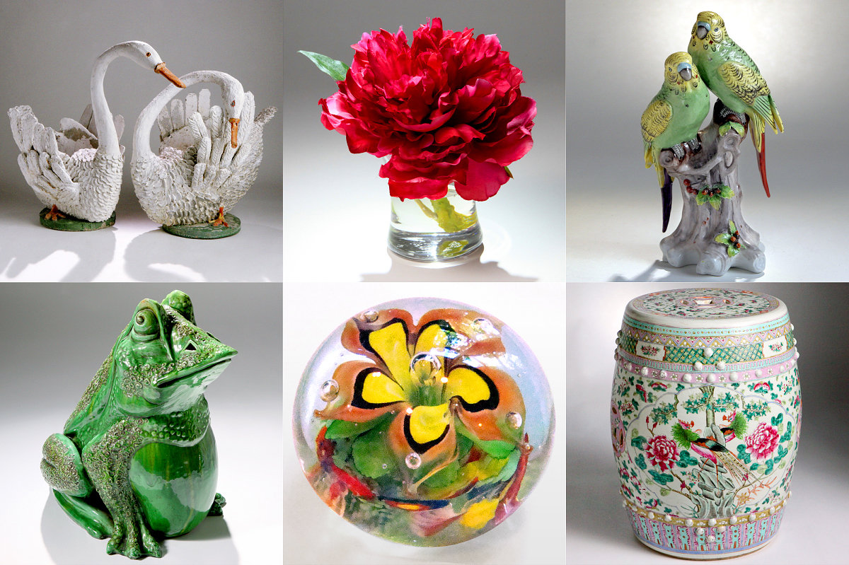 FOLK ART SWANS, FUCHSIA PEONY, PORCELAIN PARROTS, SEATED MAJOLICA FROG, MURANO GLASS PAPERWEIGHT, ORIENTAL GARDEN SEAT