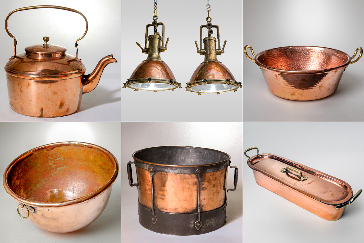 FRENCH COPPER KETTLE, BRASS & COPPER CARGO LAMP, FRENCH COPPER POT, COPPER POT, FRENCH COPPER CAULDRON, FRENCH COPPER FISH POACHER