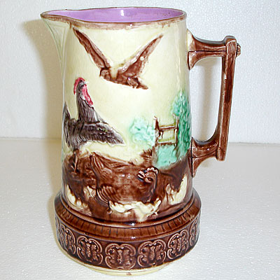 BARN YARD MAJOLICA PITCHER
