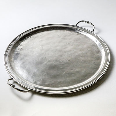 LARGE ROUND TRAY PEWTER TRAY