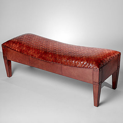 COGNAC WOVEN LEATHER BENCH