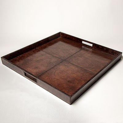 LARGE DARK BROWN LEATHER TRAY