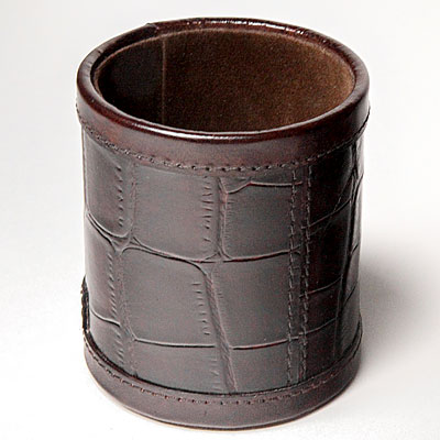 BROWN FAUX CROC PEN HOLDER
