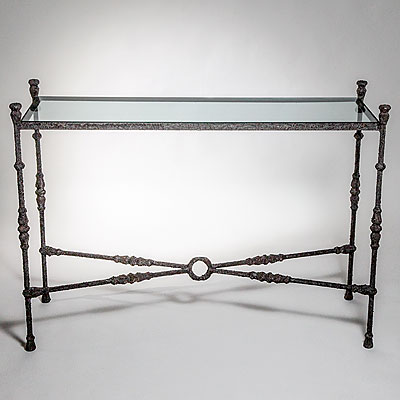 GLASS & IRON CONSOLE TABLE