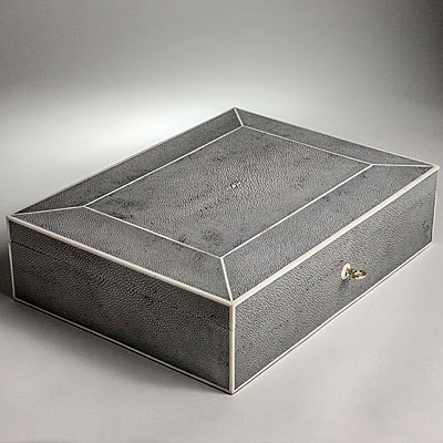 GREY SHAGREEN JEWELRY BOX
