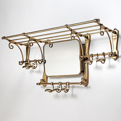 BRASS TRAIN RACK WITH MIRROR