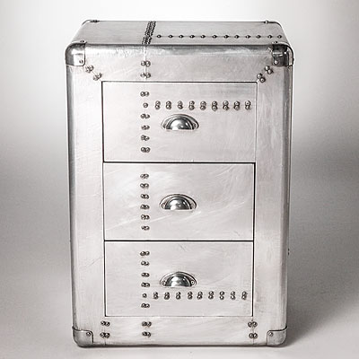 THREE DRAWER METAL CHEST