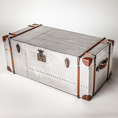 LARGE RECTANGULAR METAL TRUNK