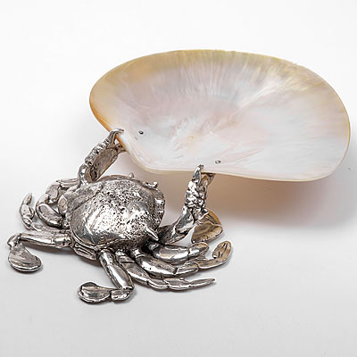 A MOTHER OF PEARL CRAB PLATE