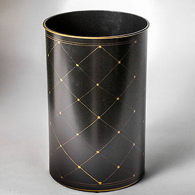 ROUND BLACK TOLE WASTE BASKET
