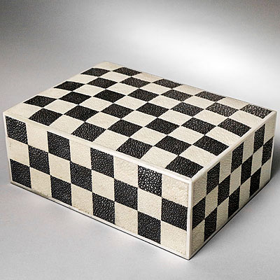 CHECKERBOARD PATTERN SHAGREEN BOX
