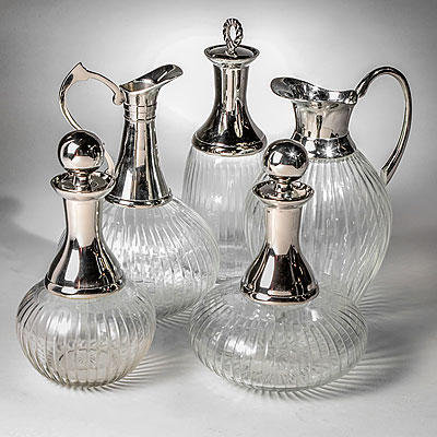 SET OF 5 NICKEL DECANTERS