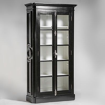 EXTRA TALL BLACK DISPLAY CABINET