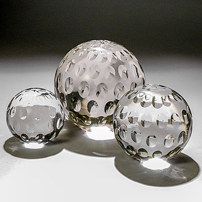 SET OF 3 GLASS PAPERWEIGHTS