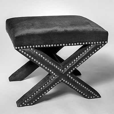 BLACK FABRIC STOOL