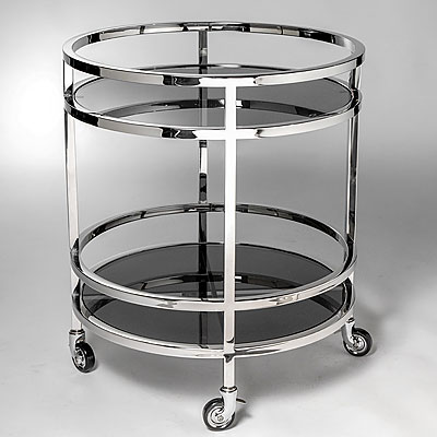 ROUND CHROME AND BLACK GLASS TROLLEY