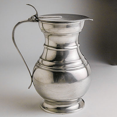 LARGE PEWTER PITCHER WITH LID
