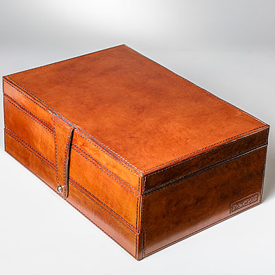 COGNAC LEATHER JEWELRY CASE