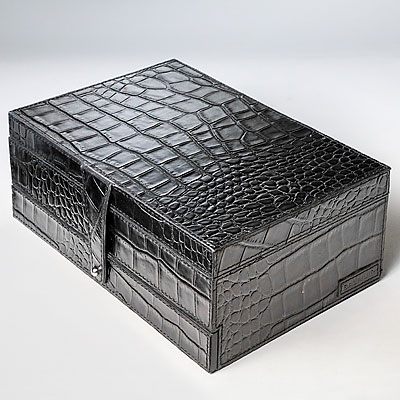 BLACK CROC JEWELRY CASE