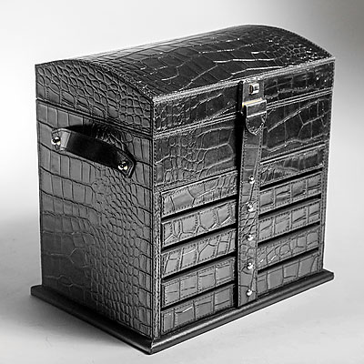 BLACK FAUX CROC JEWELRY CASE