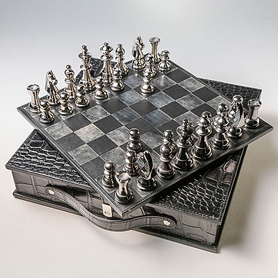BLACK FAUX CROC CHESS GAME