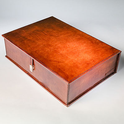 COGNAC LEATHER TABLE BOX