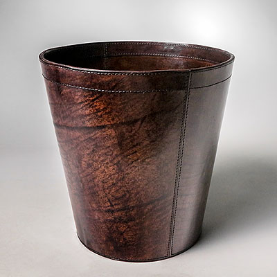 DARK BROWN LEATHER WASTE PAPER BIN