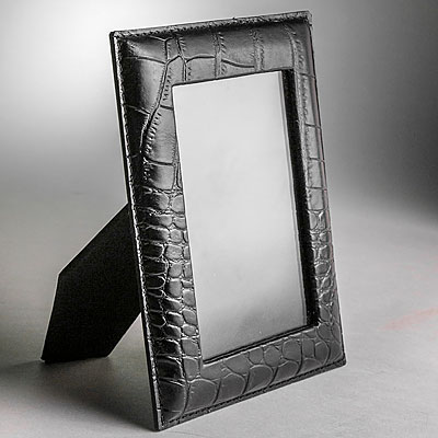 SMALL BLACK FAUX CROC LEATHER FRAME