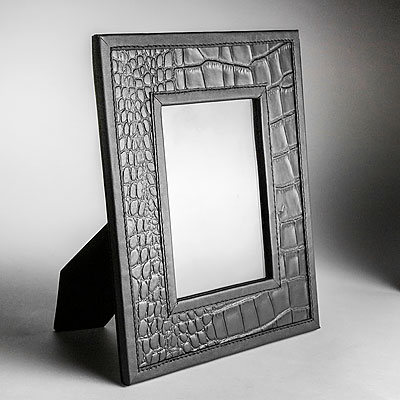 MEDIUM BLACK FAUX CROC LEATHER PHOTO FRAME