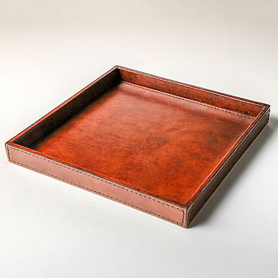 MEDIUM COGNAC LEATHER TRAY