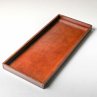 LARGE COGNAC LEATHER TRAY