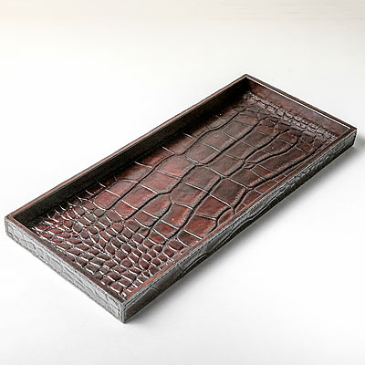 LARGE DARK BROWN FAUX CROC TRAY