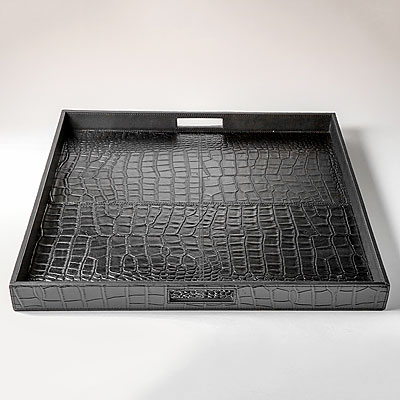 LARGE BLACK FAUX CROC HANDLED TRAY