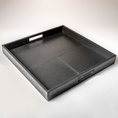 MEDIUM BLACK FAUX CROC HANDLED TRAY