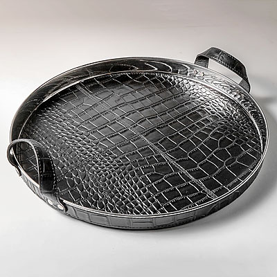 ROUND BLACK FAUX CROC TRAY
