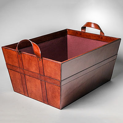 EXTRA LARGE COGNAC LEATHER BASKET WITH TWO SIDE HANDLES