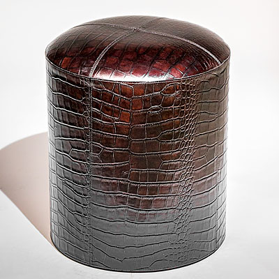 DARK BROWN FAUX CROC LEATHER POUF