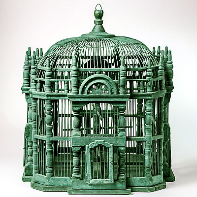 VINTAGE PAINTED BIRD CAGE