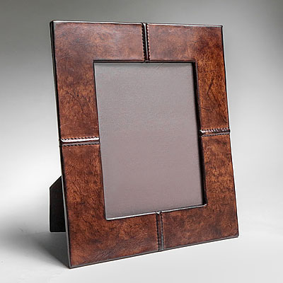 STITCHED LEATHER PHOTO FRAME DARK BROWN