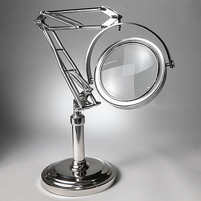 POLISHED STEEL STANDING MAGNIFIER