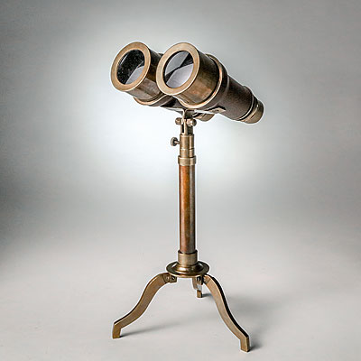 BRASS & LEATHER BINOCULARS ON STAND