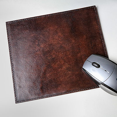 LEATHER COMPUTER MOUSE PAD, DRK BROWN