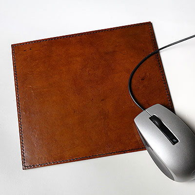 LEATHER COMPUTER MOUSE PAD, COGNAC