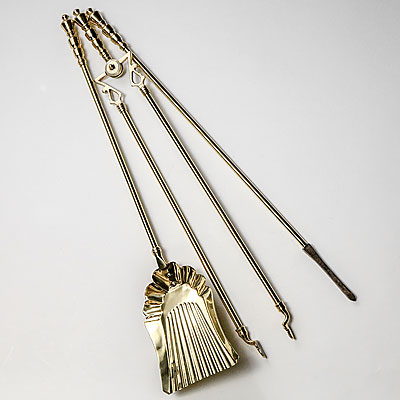 BRASS FIREPLACE TOOL SET