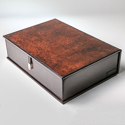 DARK BROWN LEATHER TABLE BOX