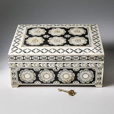 LARGE INLAID BONE BOX