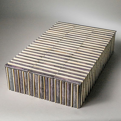 LARGE GREY RIBBED BOX