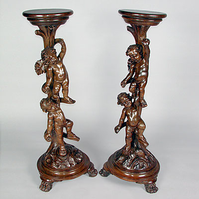 PAIR CHERUB STANDS