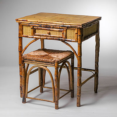 BAMBOO WRITING DESK WITH STOOL